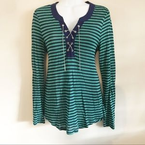 Tops - Green and navy striped top